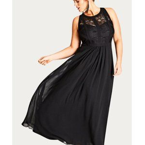 City Chic Paneled Bodice Maxi Dress - black NWT